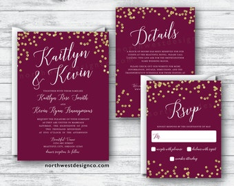 Maroon Gold Wedding Invitation Set Wine Themed Boho Invitation Suite Burgundy Invite Details Card Reply RSVP Gold Bling Elegant Invitation
