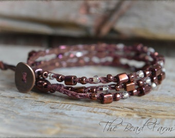 Crochet Wrap Bracelet, Crocheted Bead Necklace, Beaded Crochet Jewelry, Crocheted Beaded Necklace, Crocheted Jewelry, Wrap Bracelet