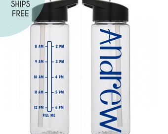 Water Bottle with Times - 24 oz. - Water Bottle - SHIPS FREE - Personalized