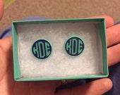 Monogrammed Earrings - monogrammed stud earrings - monograms - monogram - earrings - circle monogram - stud earrings - monogrammed studs