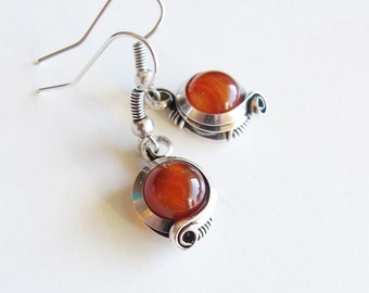 Earrings ethnic - orange - agate carnelian