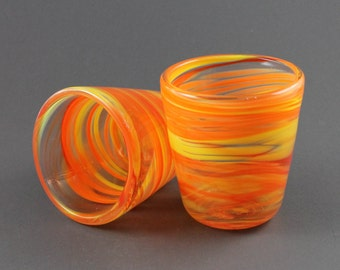 Two Hand Blown Swirl Cups