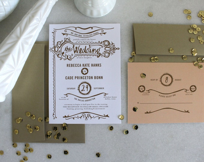 PRINTABLE Wedding Invitation Suite | Gilded Love in Gold & White
