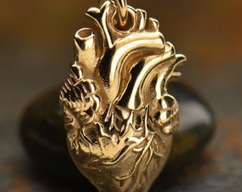 Human Heart Necklace Gold Anatomical Heart I LOVE YOU a