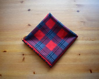 Vintage Gina Rucci tartan and dogtooth square scarf