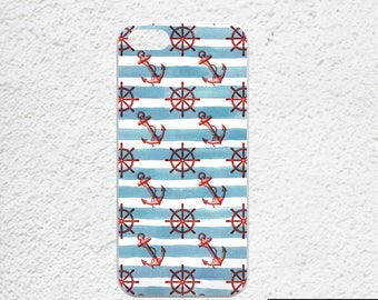 Nautical iPhone case, iPhone 6s case, blue white stripes iPhone 6s plus case, watercolor stripes red anchors iphone SE case for sea lover