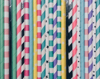 Unicorn party straws, unicorn themed party straws, unicorn party, Paper party Straws, unicorn party supplies, children's party straws, 25 pk