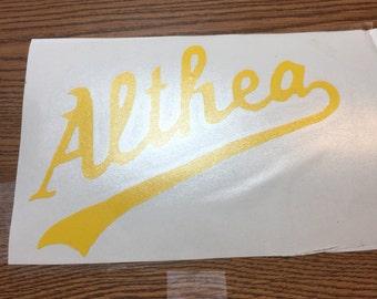 Althea vinyl decal
