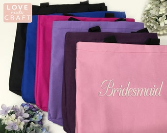 Set of 8 - Bridesmaid Gifts, Monogrammed Totes, Personalized Gift Tote Bags, Bridal Party Gifts, Sorority Gifts, Embroidery Totes