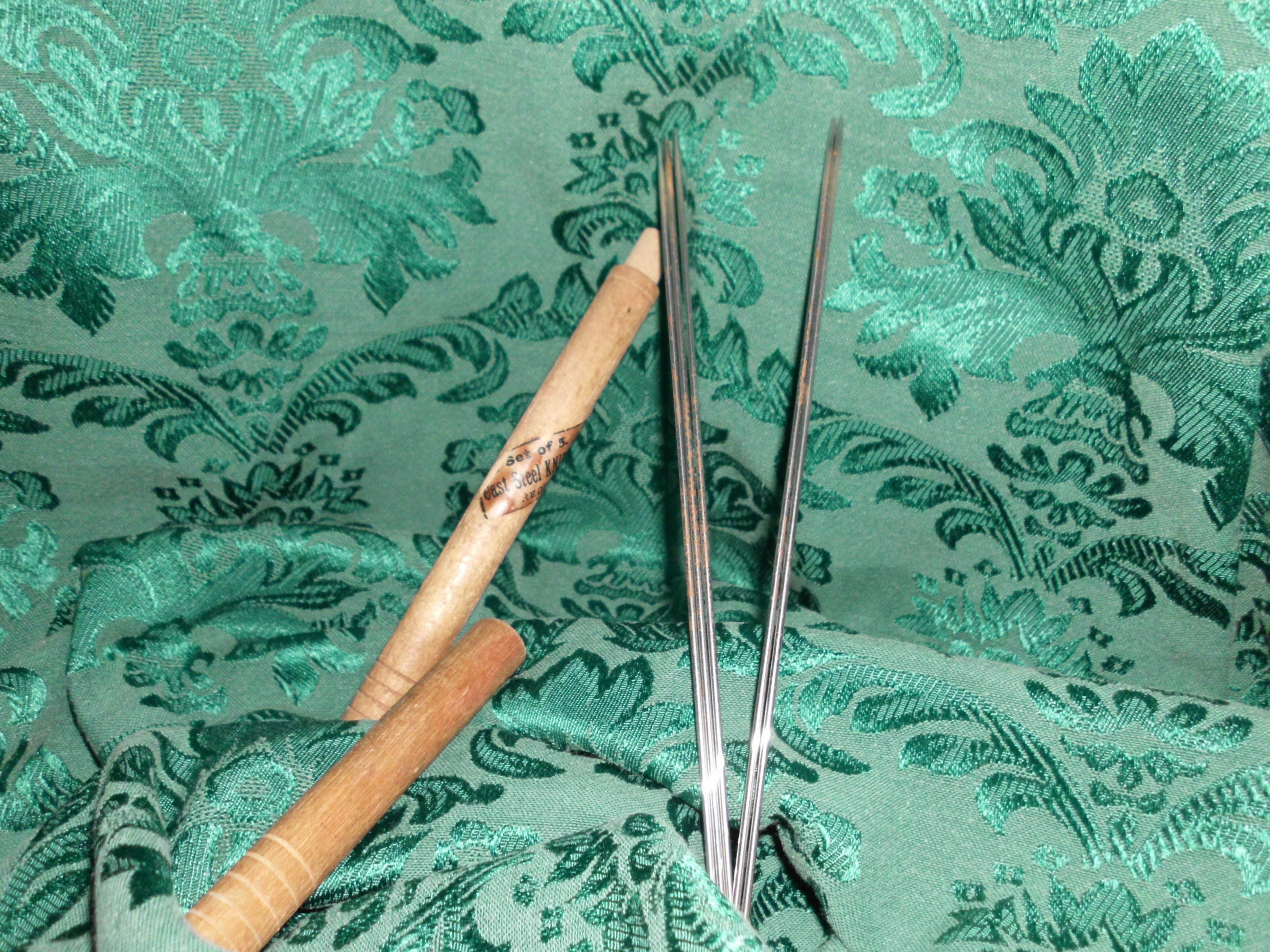 Antique Knitting Needles Steel Made In England In Wooden