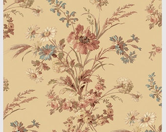 Southern Vintage Large Floral Spray Cotton Quilt Fabric Washington St Beige  BTY