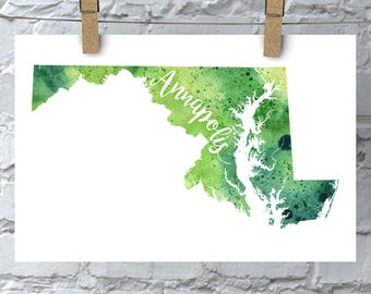 Custom Maryland Map Art, Maryland Watercolor Heart Map Home Decor, Annapolis or Your City Hand Lettering, Personalized Gift, Print, 5 Colors