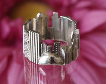 Chicago Cityscape - Skyline Statement Ring - Gift Idea - Gift for Her - Mother's Day