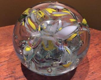 Glass Paperweight / Blown Glass Ball Shaped Paperweight / Decorative Paperweight / Art Glass