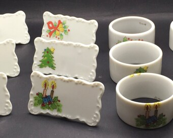 Vintage  Porcelain Christmas Napkin Rings Name Place Card Holder Japan Set Of Six Tea Party High Tea Formal Table Setting