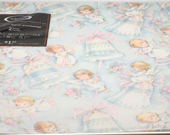 Vintage Norcross Wedding Gift Wrap Wrapping Paper  Cupid Angel Ringing Bells Baby Angel Pink Ribbon  Marriage Made In Canada 2 Sheets