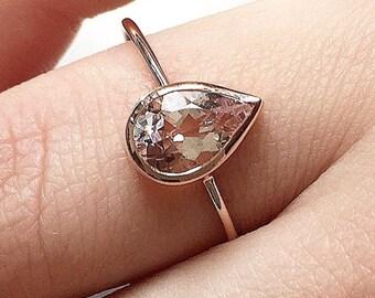 14k  Gold Pear Morganite Ring, Morganite Engagement Ring, Teardrop Morganite Ring, Pear Shape Morganite Ring,