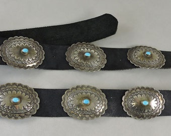 Navajo Indian Hand Made Silver and Turquoise Concha Belt