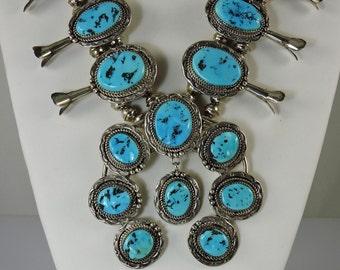 Kingman Turquoise Navajo Squash Blossom Necklace