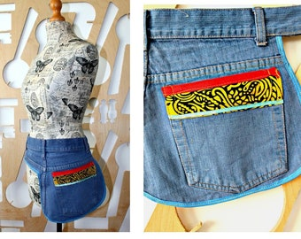 Upcycled Blue Denim Apron Vintage jeans Wrap Layering Patchwork Unique Repurposed Denim Cafe owner Wearable art Bohemian Tool belt