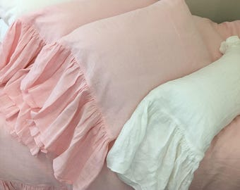 Pink Linen Pillow Cases with Mermaid Long Ruffles, Princess Dream 2 Pieces, A Pair