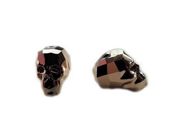 Swarovski Skull Beads 5750 13mm Crystal (001) Rose Gold 2 x (ROGL2) - per bead