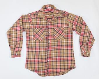 70s Vintage Big Mac Beige Brown Red Plaid Workwear Farmer Flannel Shirt