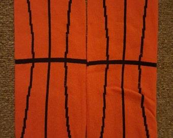 orange striped basketball baby leg warmers