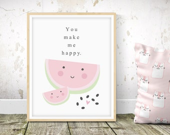 Happy Watermelon - Nursery Print - Children's Wall Art - Baby Nursery Decor