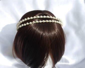 Double Pearl Bridal Tiara band, Cream pearl brides headband, Wedding pearl band, Pearl headpiece, Wedding hair accessory, Pearl aliceband