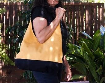 Yellow hobo bag. Slouch bag. Shoulder bag. Yellow handbag.  Yellow hobo purse bag.