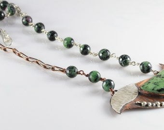 Handmade Copper & Silver Necklace With Ruby Zoisite Stones