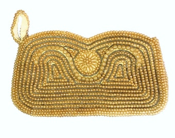 Silvercraft Champagne Beaded Clutch Purse Bag Small Vintage Japan