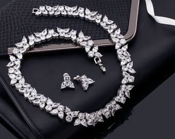 Bridal Necklace Set, Bridal Necklace, Crystal Necklace Set, Crystal Necklace, Jeweled Necklace, Wedding Necklace Set, Wedding Necklace