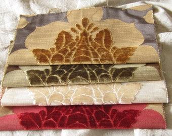 Damask fabric scraps, damask fabric samples, velvet fabric samples, velvet scraps, vintage upholstery fabric samples, brocade fabric samples