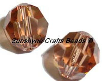 Swarovski Crystal Beads 5000 Series LIGHT SMOKED TOPAZ Faceted Round Bead - Sizes 4mm & 6mm available