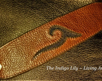 Reddish Brown Leather Cuff w/Authentic Black Stingray Inlay / Leather Lining - Easy & Secure Snap Closure / Made To Order - Sizes SM  - XL