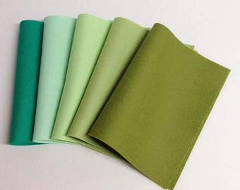 "Five pack 8"" x 12"" Greens Merino Wool Felt"