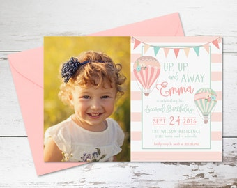 Up Up and Away Hot Air Balloon Birthday Invitation, Photo Invitation // Digital or Printed //