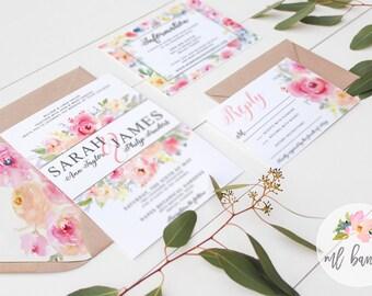"Watercolor ""SARAH"" Invitation, Pink Watercolor Peony Wedding Invitation Set  // Digital or Printed //"
