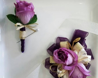 SALE Prom Corsage Set Shades of  Purple and Gold Corsage with Matching Boutonniere In Clear Corsage Box Ready to Ship