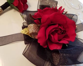 Red Black Gold Prom Corsage with Matching Boutonniere Prom Set READY TO SHIP
