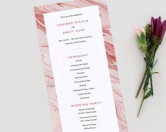 Marble Wedding Program   Wedding Program, Geode Wedding Program, Modern Wedding Program, Printable Template PDF, Modern Program