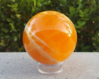 80mm Orange Calcite Sphere, Orange Calcite, Calcite
