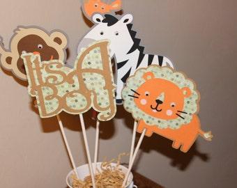 Jungle Theme Baby shower. Set of 7 Cute Jungle Animals
