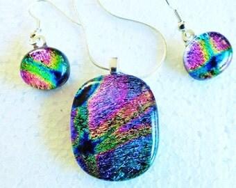Kaliedoscope - Beautiful handmade dichroic glass pendant and earring set