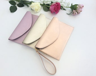 Leather Wristlet Pouch.Envelope leather bag.Leather clutch.Bridesmaid leather bag purse clutch.Metallic rose gold pouch.Ready to ship.Pulpo.
