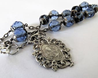 Antique French, First Communion Bracelet, Pendant, Crystal, Silver,SHIPPING INCLUDED