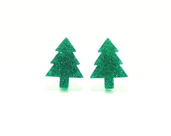 Christmas Tree Earrings, Christmas Tree Stud Earrings, Xmas Tree Earrings, Festive Earrings, Holiday Earrings, Pine Tree Earrings