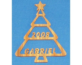 Personalized Christmas Tree Ornament - hand cut from canarywood - with or without year